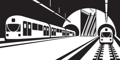 Papiers peints Plate-forme de métro station à trains