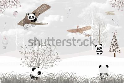 Papiers peints Playing cute pandas kids room wallpaper design