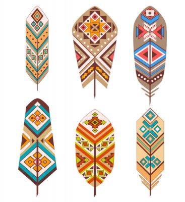 Papiers peints Plumes tribales avec motif ethnique