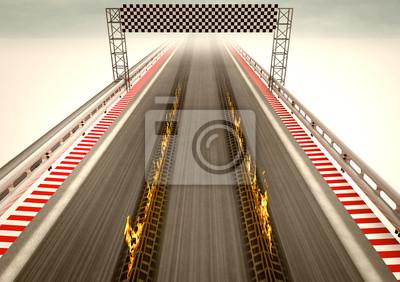 pneu brûlant sur la ligne d'arrivée du circuit de course