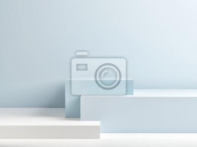 Papiers peints Podium en composition bleue abstraite, rendu 3d, illustration 3d