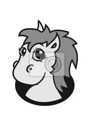 Poil A Fond Doux Mignon Assis Dessin Anime Poney Cheval Pferdchen