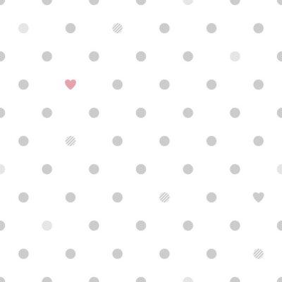 Papiers peints: Pois avec des coeurs seamless pattern - blanc et gris.