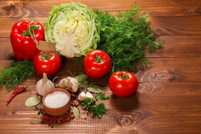 Papiers peints Poivre, tomates, ail, vendange, bois, table, étiquette