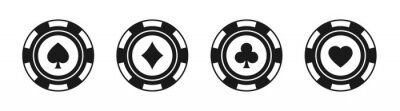 Papiers peints Poker chips black icons vector set. Isolated Casino poker chip logo. Poker symbols with spades, hearts, diamonds, clubs. Playing poker concept. Vector illustration.