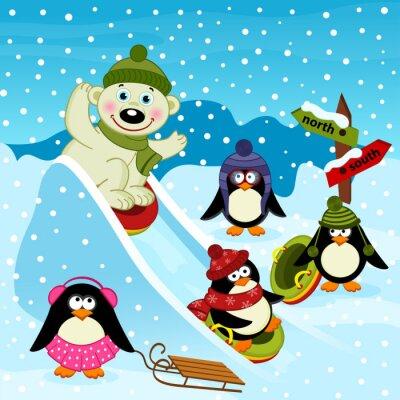 Papiers peints Polaire, ours, pingouin, glace, glissement - vecteur, Illustration, EPS