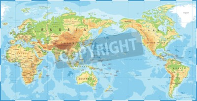 Papiers peints Political physical topographic colored world map pacific centered vector icon.