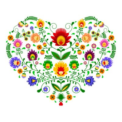 Papiers peints Polski folklor - wzór w kształcie serca