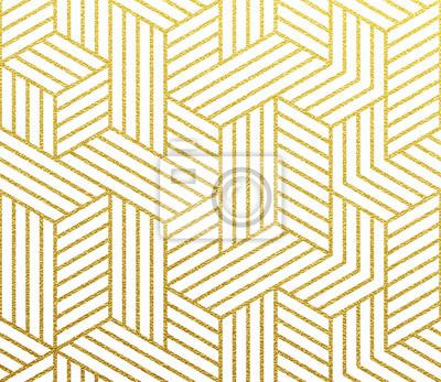 Polygone de cubes 3D dorés géométriques du motif de maillage de lignes. Feuille d'or abstrait Vector de modèle de grille de mosaique paillettes sans soudure