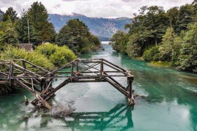 Papiers peints Pont abandonné, Route des Sept Lacs, Argentine