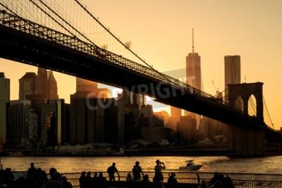 Papiers peints Pont de Brooklyn au coucher du soleil, New York City
