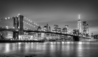 Papiers peints Pont de Brooklyn au crépuscule, New York City.