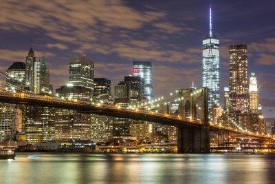 Papiers peints Pont de Brooklyn et du centre ville Gratte-ciel à New York au crépuscule