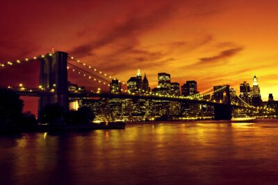 Papiers peints Pont de Brooklyn et Manhattan au coucher du soleil, New York