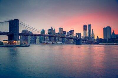 Papiers peints Pont de Brooklyn et Manhattan au crépuscule