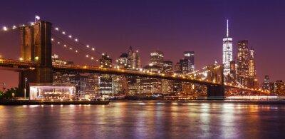 Papiers peints Pont de Brooklyn et Manhattan la nuit, New York City, USA.