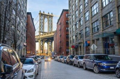 Papiers peints Pont de Manhattan, de Brooklyn sur un hiver Après-midi