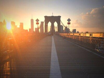 Papiers peints Ponte di Brooklyn Al Tramonto con vista di New York