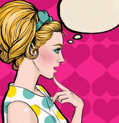 Papiers peints Pop Art Blonde fille de profil avec la bulle.