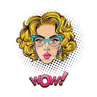 Pop féminin dart pop. la tête de jeune femme surpris et sexy papier ... fbc96103ef7