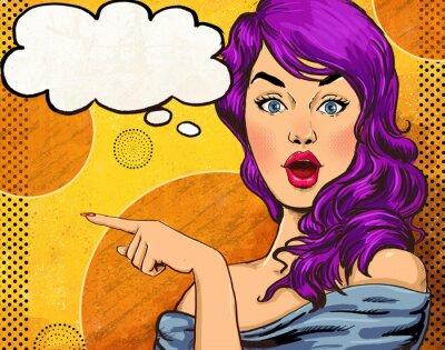Papiers peints Pop illustration d'art de fille avec le bubble.Fashion de la parole