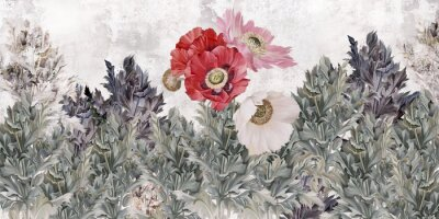 Papiers peints Poppies flowers illustration. Poppies painted on the grunge wall. Beautiful design for card, postcard, picture, mural, wallpaper, photo wallpaper.