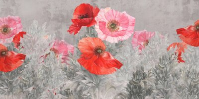 Papiers peints Poppies flowers illustration. Poppies painted on the grunge wall. Beautiful design for postcard, picture, mural, wallpaper, photo wallpaper.