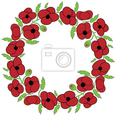 Poppy seeds flowers wreath