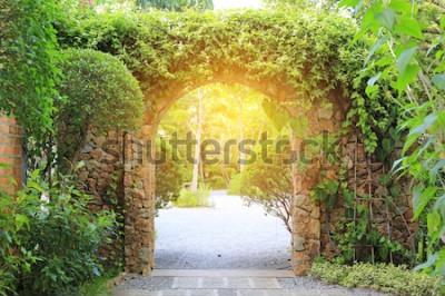 Papiers peints Porte d'entrée en pierre recouverte de lierre. Archway au parc avec la lumière du soleil.