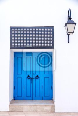 Porte Dentree Orientale Bleue A La Maison Au Maroc Papier Peint