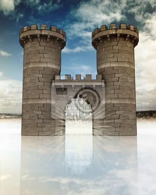 Porte médiévale avec treillis ouvert et tours de garde