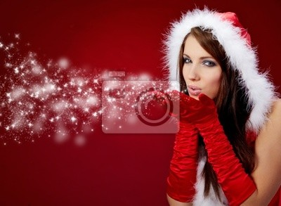 Portrait de la belle fille de Noël