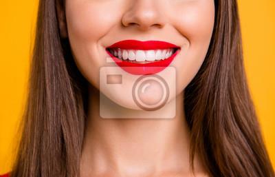 Papiers peints Portrait, demi-visage, femme, sourire rayonnant, tout, être, chez, dentiste