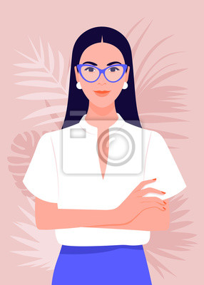Papiers peints Portrait of a successful girl with arms crossed. Business woman smiling. Vector flat illustration