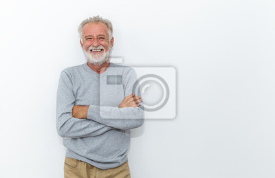 Papiers peints Portrait of healthy happy smile senior elderly caucasian old arm crossed with copy space isolated on white. Golden age healthcare cheerful lifestyle freedom relax retirement concept