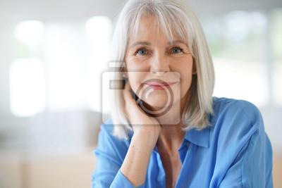 Papiers peints Portrait, personne agee, femme, bleu, chemise