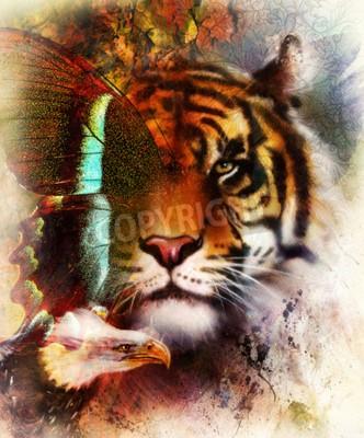 Papiers peints Portrait tigre avec des ailes d'aigle et de papillon .. Fond abstrait et ornement, structure vintage. Concept animal