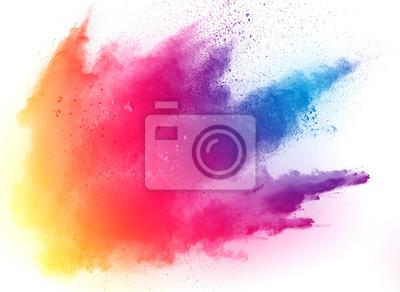 Papiers peints poudre multicolore abstraite éclaboussée sur fond blanc, gel de la poudre de couleur en explosion