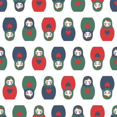 Papiers peints Poupée multicolore Nested modèle sans soudure. Mignon poupée russe en bois - Matrioshka. Poupée imbriquée Matrioshka illustration isolé sur fond blanc.