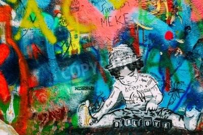 Papiers peints Prague, République tchèque - 10 octobre 2014: Lieu célèbre à Prague - Le mur John Lennon. Le mur est rempli de graffitis inspirés de John Lennon et de paroles de chansons de Beatles