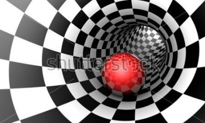 Papiers peints Prédétermination. Boule rouge dans un tunnel d'échecs (image de concept). L'espace et le temps. Illustration 3D Disponible en haute résolution et en plusieurs tailles pour répondre aux besoins