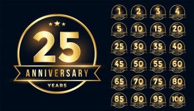 Papiers peints premium golden anniversary emblem set in line style