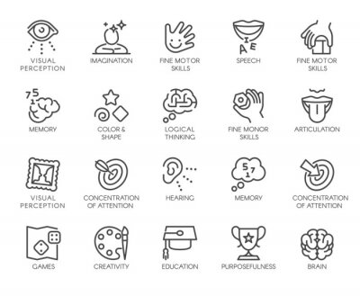 Papiers peints Premium Icons Pack on Human Cognitive Abilities and Preschool Development of Children. Such Line Signs as Fine Motor Skills, Articulation. Vector Icons Set for Web and App in Outline Editable Stroke.