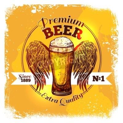 Papiers peints Premium qualité bière étiquette à croquis verre de boisson à ornement vecteur Illustration