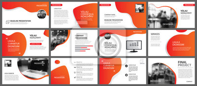 Papiers peints Presentation and slide layout background. Design red and orange gradient template. Use for business annual report, flyer, marketing, leaflet, advertising, brochure, modern style.