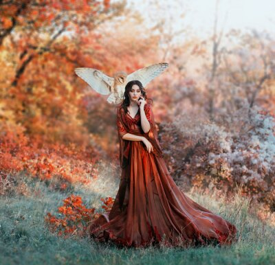 Papiers peints pretty young girl with black hair in cold forest, orange foliage of trees, fairy of autumn season in long red burgundy vintage dress with chic train, lady with white owl on shoulder, bloody sorceress