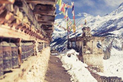 Papiers peints Prière, roues, élevé, Himalaya, montagnes, Népal, village ...