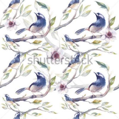 Papiers peints Printemps aquarelle Modèle sans couture avec des oiseaux, des branches d'arbres, des fleurs et des feuilles. Modèle de papier peint botanique peint à la main avec des oiseaux bleus sur fond blanc.