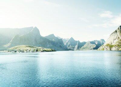 Papiers peints Printemps, coucher soleil - Reine, Lofoten, îles, Norvège