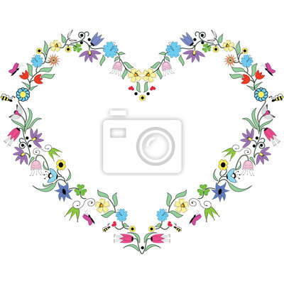 Printemps inspiré Coeur d'éléments floraux colorés